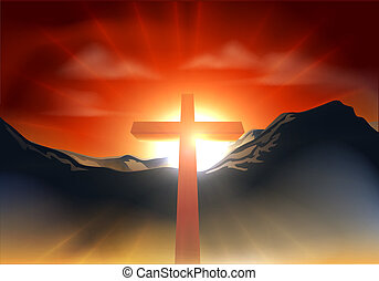 Christian Easter cross concept - Christian cross with sun...