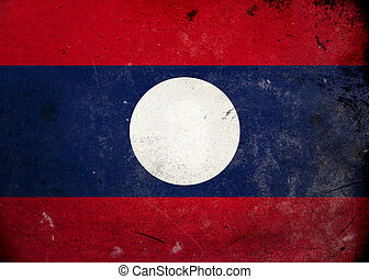 Grunge Flag of Laos - The flag of Laos on old and vintage...