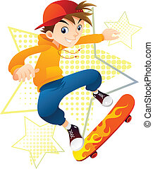 Skater Boy - Skateboarder Boy in action