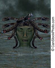 The mythological Medusa - The mythological Medusa emerging...