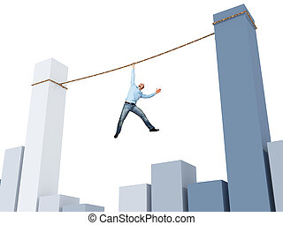 bad situation - man on rope and 3d financial chart