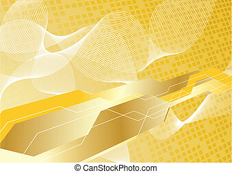 Vector hi-tech background in gold color; clip-art