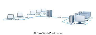 Network. 3d render white isolated