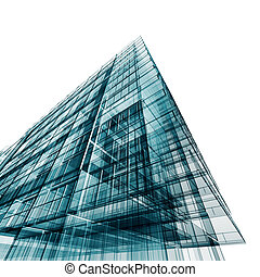 Modern building. 3d projecting process