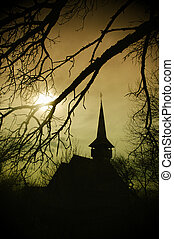 Dracula church in Transylvania - Draculas land at sunset,...
