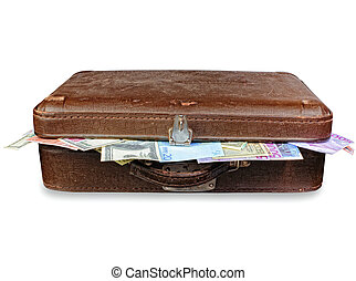 viejo, maleta, Lleno, dinero