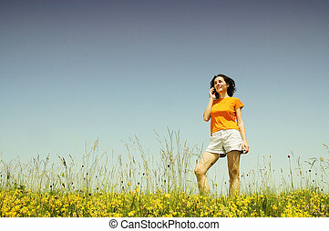 Woman using her cell phone