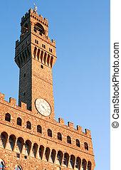 Palazzo Vecchio Clock Tower - Closeup of Palazzo Vecchio...