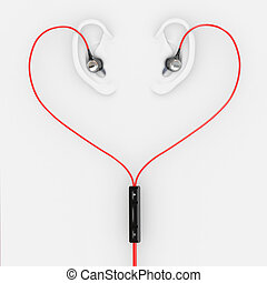 Ears and earphones  in the form of heart