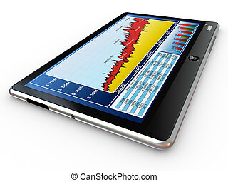 Tablet pc and business graph on the screen. 3d