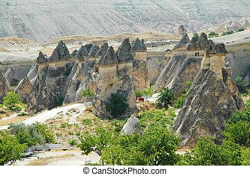 Stone columns in Cappadocia, Turkey