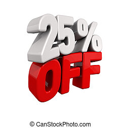 twenty-five Percent Automatic Reduction. 3d text for 25% OFF...