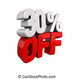 thirty Percent Automatic Reduction. 3d text for 30% OFF in...