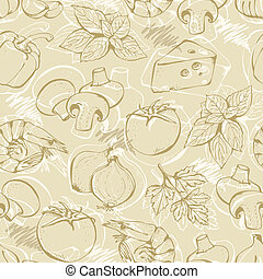 Pizza doodle set on a beige - Background from hand-drawn...