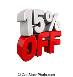 fifteen Percent Automatic Reduction. 3d text for 15% OFF in...