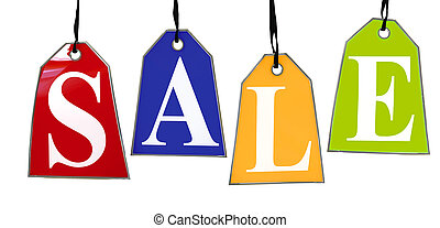 Colored Sale Tags. Four colored tags with the letters...