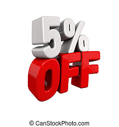 five Percent Automatic Reduction. 3d text for 5% OFF in red...