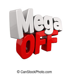 Mega Offer - 3d text for Sell out in red and white angled...