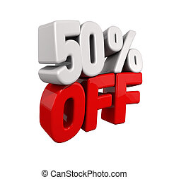 fifty Percent Automatic Reduction. 3d text for 50% OFF in...
