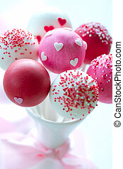 Valentine cake pops - Cake pops decorated with sugar hearts...