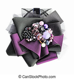 Brooch Handmade - Brooch with bead and silk ribbons....