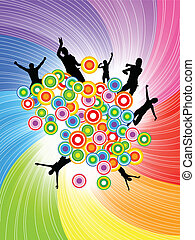 Vector abstract colorful background with circle; clip-art