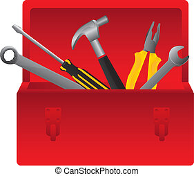 Tool box - Red tool box on white background, vector...