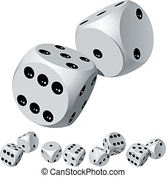 Dice rolls - Set of dice rolls Vector illustration