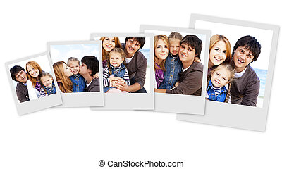 Collage photos of young family at the beach in fall. Photos...