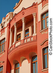 Baroque house painted in red.Oradea - Baroque house painted...