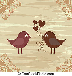 Birds couple - Birds in love on vintage background,...