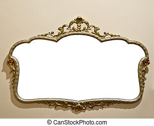 Antique mirror on grunge wall