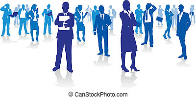 business people - blue business people background