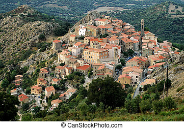 Speloncato village, Corsica - Late afternoon lights in...