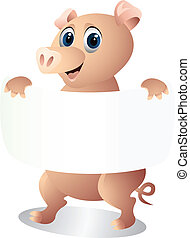 pig with blank sign - illustration of pig with blank sign