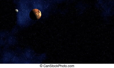 Two planets fly against the star sky