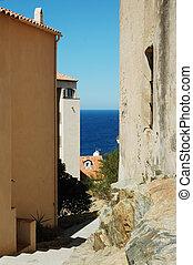Narrow street of Calvi, Corsica