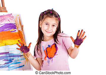 Beautiful little girl painting with her hands