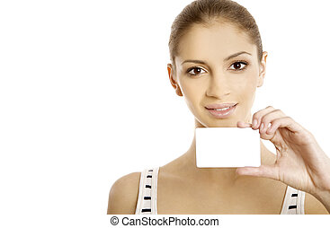 Attractive woman showing business card Young female...