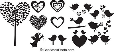 Love - Heart shapes on white background, vector silhouette