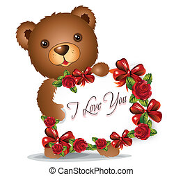 brown Teddy bear with greeting card