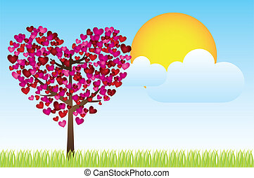 Heart tree - landscaoe with heart tree, sky and sun, vector...