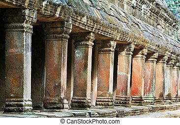 TA, Prohm, Templo, pilares, cambodia
