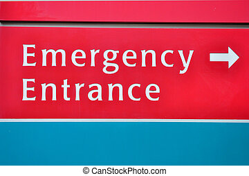 Emergency Entrance Sign - A close up view of a emergency...