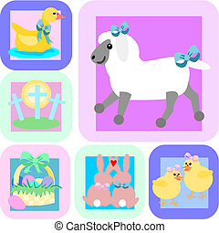 Easter tiles - Cartoon illustrations of Easter. A lamb with...