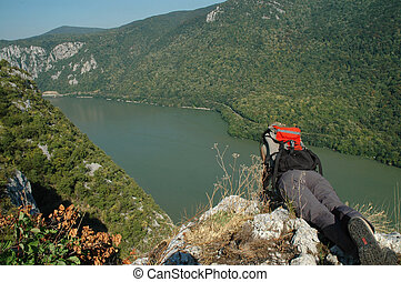 Danube river and gorge - Girl looking down to Danube river...