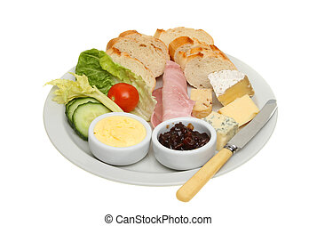 Plougmans lunch - Ploughmans lunch, bread, cheese and ham...