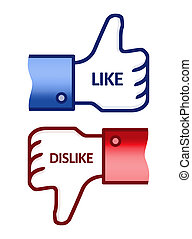 Like Dislike Thumb Up Sign - Illustration of the thumb up...