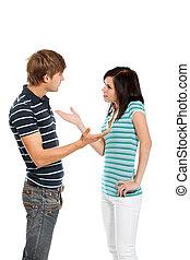 joven, pareja, pareja, conflicto