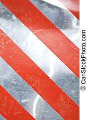 Grunge silver warning background with red stripes